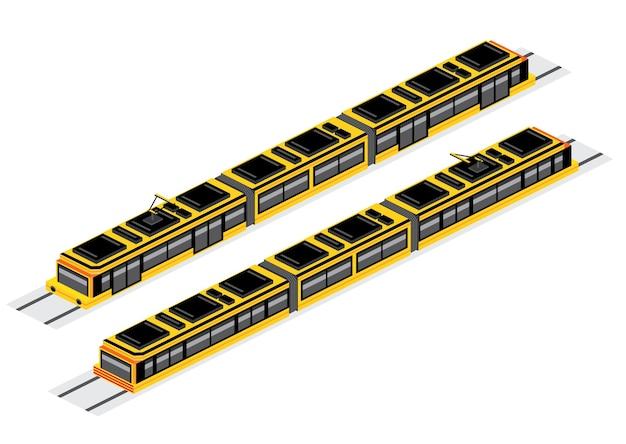 Изометрические трамвай, изолированные на белом. иллюстрация