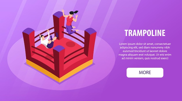 Isometric trampoline horizontal banner with images of jumping kids bouncy house editable text and more button vector illustration