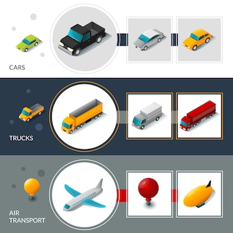 Isometric transport banners