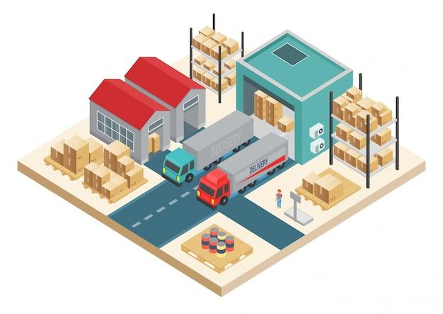 Изометрические транспорт логистической концепции. концепция сервиса распределения. складская и дистрибьюторская компания.