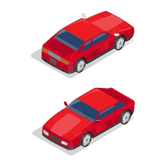 Isometric transportation. sport car. isometric car.