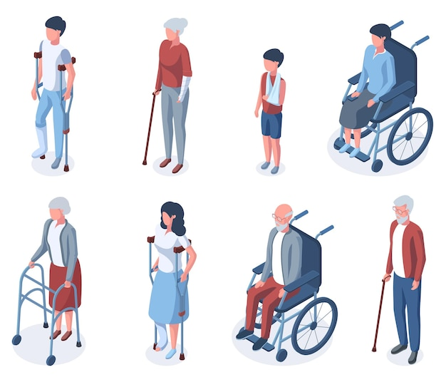 Изометрические травмы инвалиды пожилого и молодого возраста. люди на костылях или в наборе векторных иллюстраций инвалидной коляски. травма разновозрастных персонажей