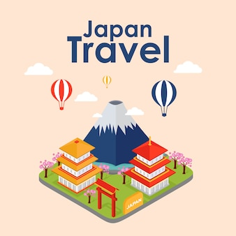Isometric travel of japan, vector illustration