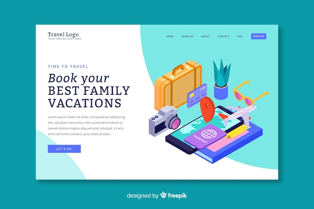 Isometric travel landing page template