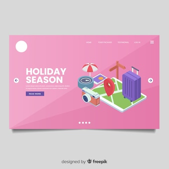 Isometric travel landing page