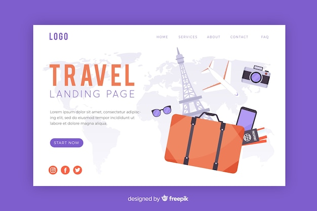 Isometric travel landing page