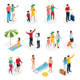 Isometric travelers characters set