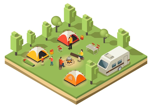 Isometric traveling camping concept