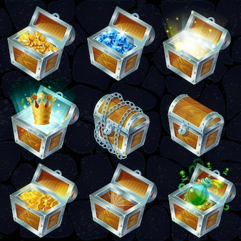 Isometric treasure chests collection
