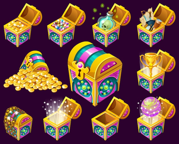 Isometric treasure chests.