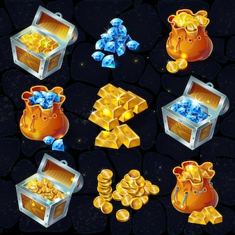 Isometric treasure elements set