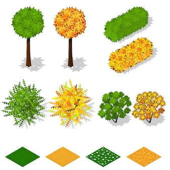 아이소메트릭 나무, 덤불, 잔디, 꽃. 여름 녹색 단풍입니다. 노란 가을 단풍. 생태 및 조경. 자연과 행성의 생태. 벡터 일러스트 레이 션