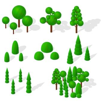 Изометрические деревья, ели и кустарники. зеленая растительность. круглые лиственные деревья. экология планеты. смешанный лес. деревья с тенью. векторная иллюстрация.