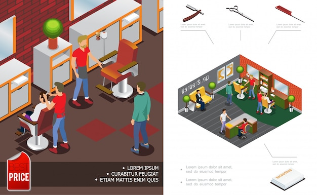 Isometric trendy barber shop composition with hairdressers clients salon interior elements reception scissors comb razor towels