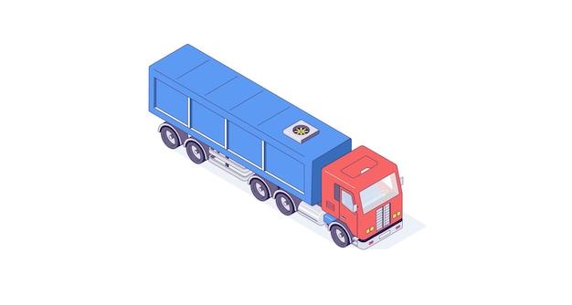 Изометрические грузовик грузовой транспорт авто и автомобиль иллюстрации