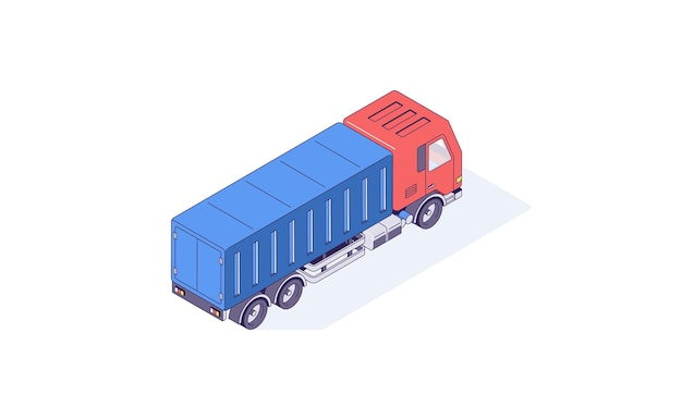 Изометрические грузовик грузовой транспорт авто автомобили и иллюстрация транспортного средства