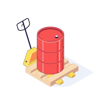 Isometric truck pallet with barrels illustration
