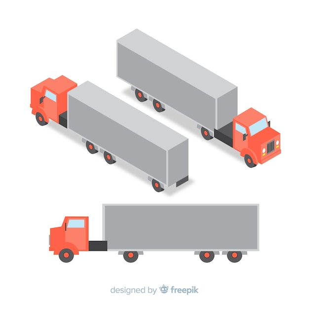 Isometric truck perspectives collection