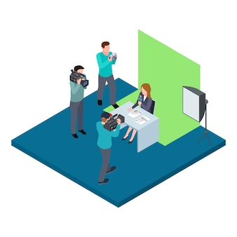 クロマキーのベクトル図で撮影された等尺性テレビのホスト