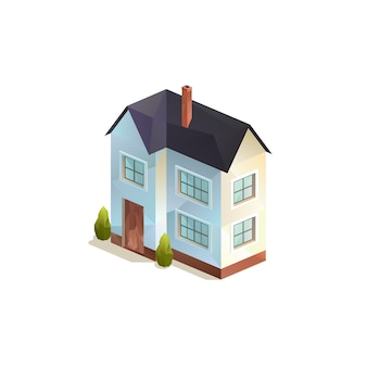 Isometric two-storey rural family house