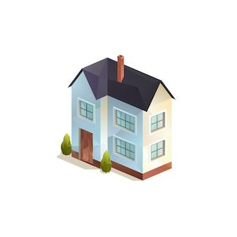 Изометрический двухэтажный сельский семейный дом