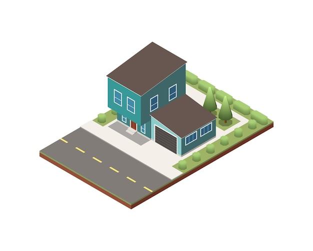 차고와 녹색 마당 3d가 있는 아이소메트릭 2층 교외 주택