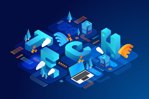 Isometric typographic message in blue night shades