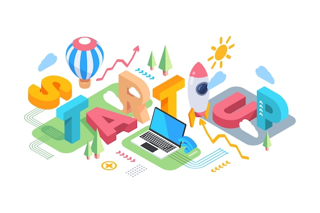 Isometric typographic message and science