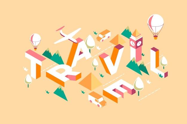 Isometric typography message travel