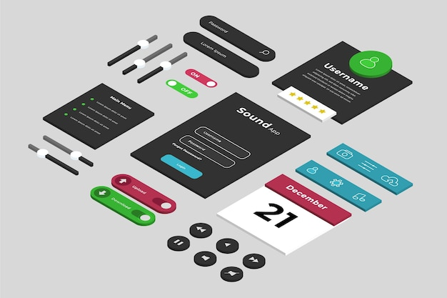 Isometric ui/ux elements collection