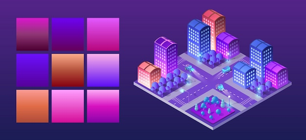 Isometric ultraviolet city