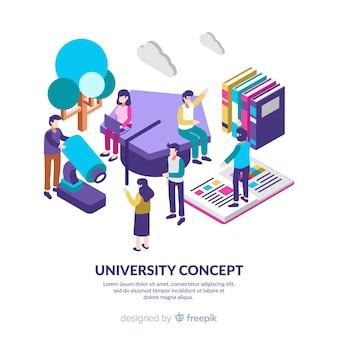 Isometric university background with students