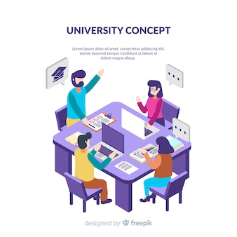 Isometric university background with students