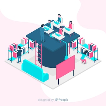 Isometric university background