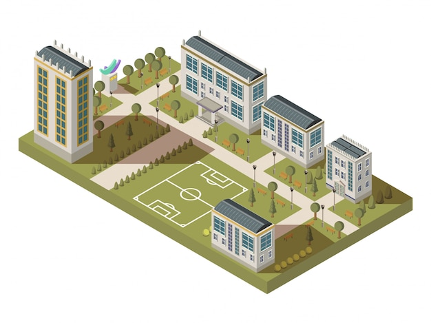 Isometric university big composition with campus yard lanes houses with shadows and football playgro