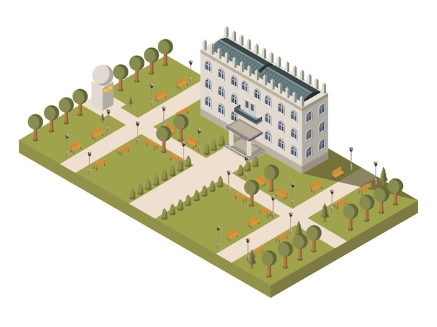 Isometric university composition