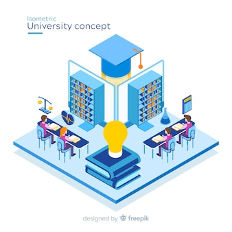 Isometric university concept background Premium Vector