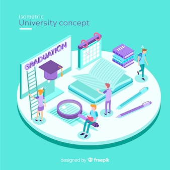 Isometric university concept background
