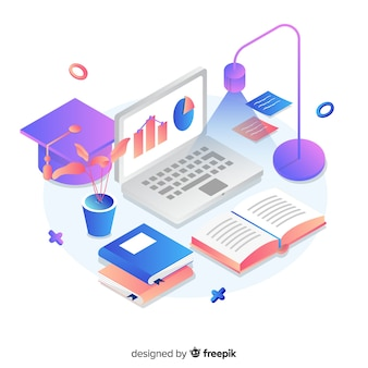 Isometric university concept with education elements