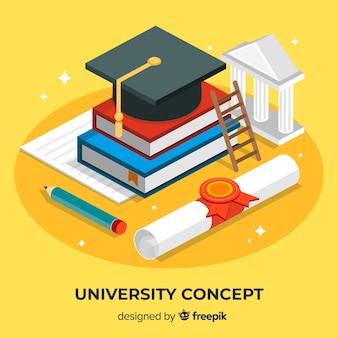 Isometric university concept with school elements
