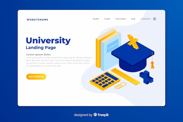 Isometric university landing page template