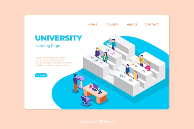 Isometric university landing page template