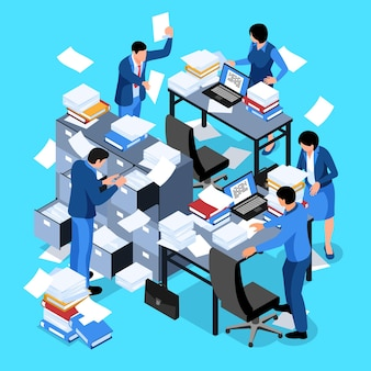 Isometric unorganized office work composition with flying paper sheets laptops and human characters of company employees