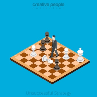 Isometric unsuccessful business strategy concept. man makes wrong move on chessboard.
