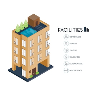 Isometric urban building. icon facilities for condominium.
