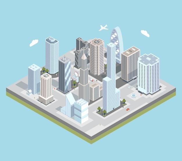 Изометрическая карта городского центра города со зданиями, магазинами и дорогами на плоскости.