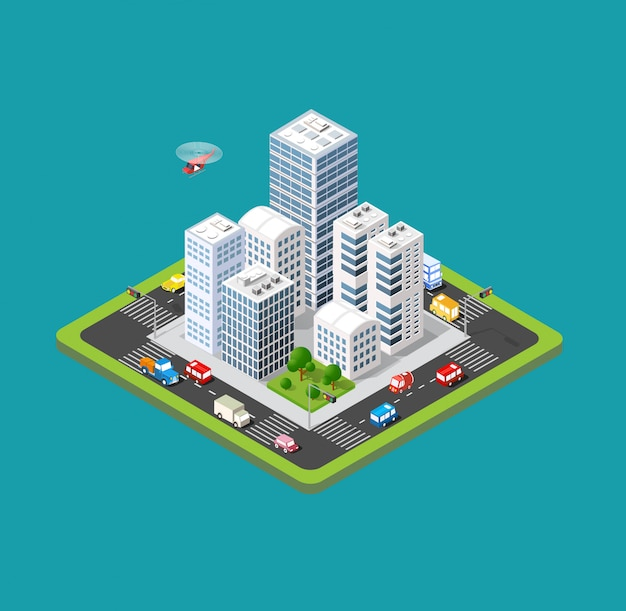 Isometric urban city
