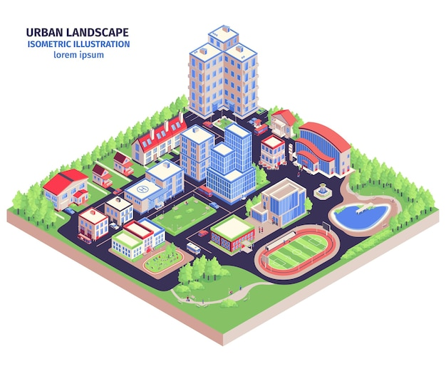 Isometric urban composition with modern city district landscape with low-rise buildings green zones and stadium  illustration