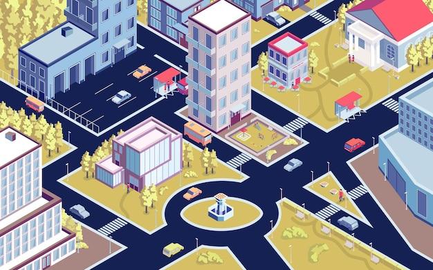 通りや建物のイラストと近代的な市街地の鳥瞰図と等角投影都市水平構成