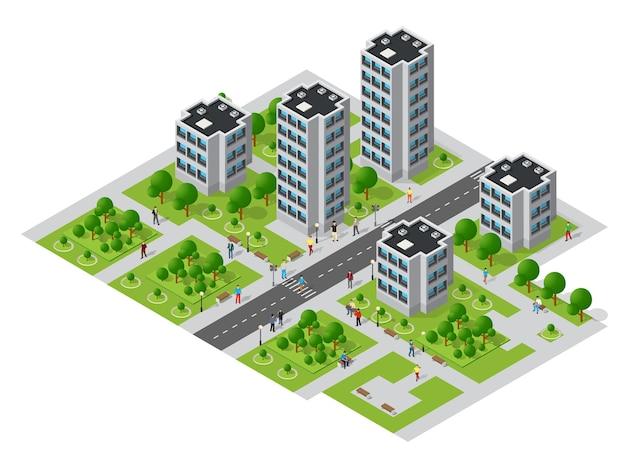 Изометрические городской мегаполис, вид сверху на городскую инфраструктуру, современная улица, реальная структура, элементы архитектуры, разные здания